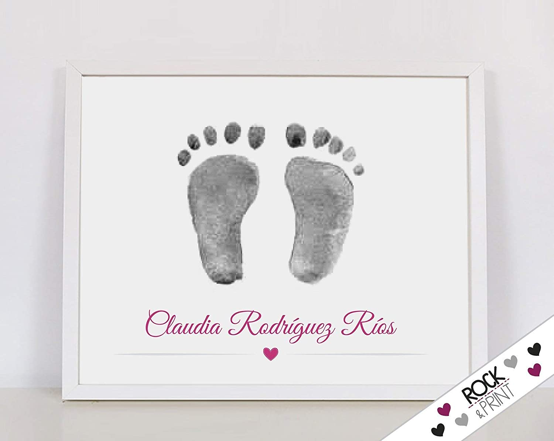 Kit para huellas pie y datos de nacimiento de bebé con tinta y marco ...