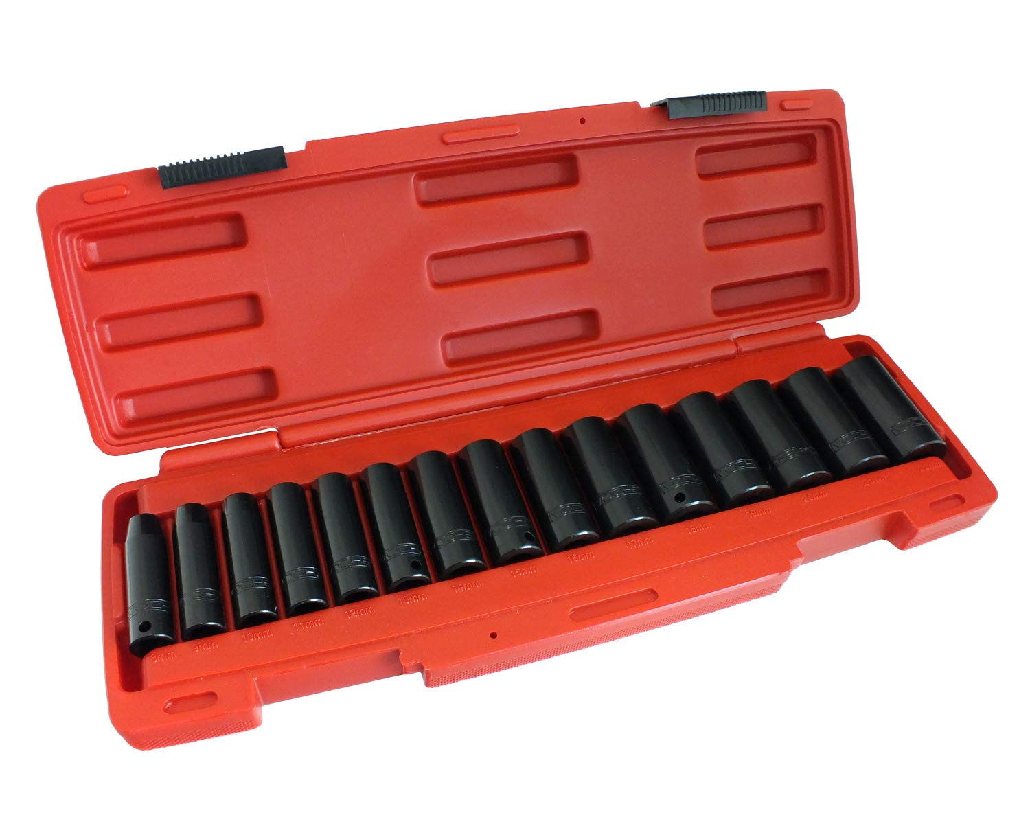 15 Piece 3//8 Dr Deep Impact Metric CRV Socket Set with Storage Case