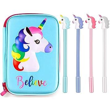 PPX Estuche para lápices Unicornio Estuche Papelería y 4 Piezas de Plumaa Grande Lindo Soporte de Colores con Compartimentos para Escolar Estudiantes ...
