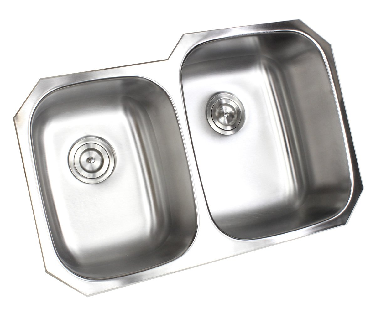 Kingsman 32 inch 18 Gauge Stainless Steel Undermount Double Bowl (40/60) Kitchen Sink (Sink with Strainer) by KH KINGSMAN HARDWARE (Image #3)