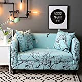 HYSENM 1/2/3/4 Seater Sofa Cover European Style Home Décor Stretch Elastic Protector Washable Durable Dust Proof Soft Sofa Slipcover Couch Cover Easy Fit, Bird 2 seater 140-185cm