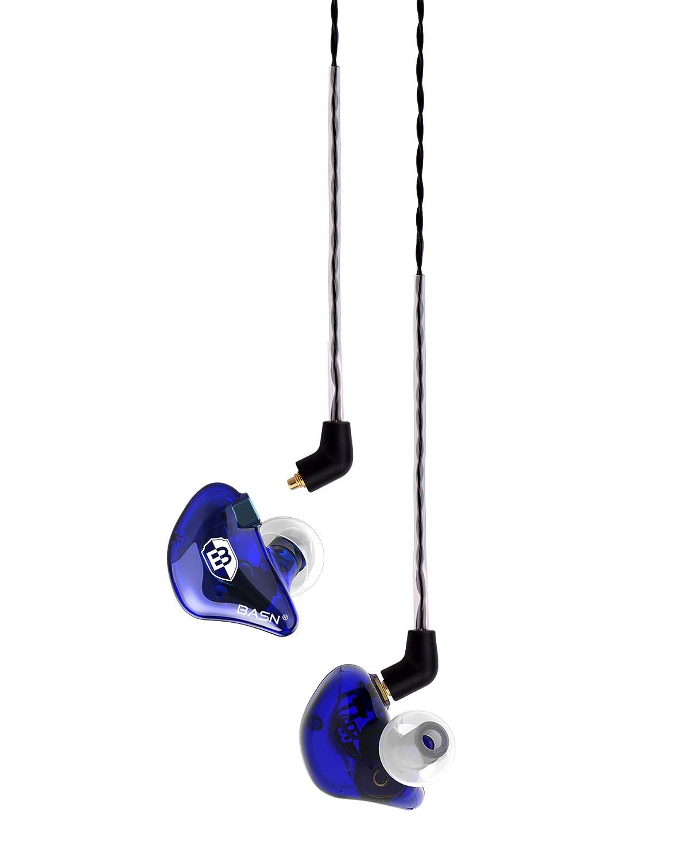 Bleu Pro Basn /Écouteurs intra-auriculaires casque de contr/ôle c/âble MMCX suppression du bruit HiFi Earbud casques Singer Batteur /Écouteurs