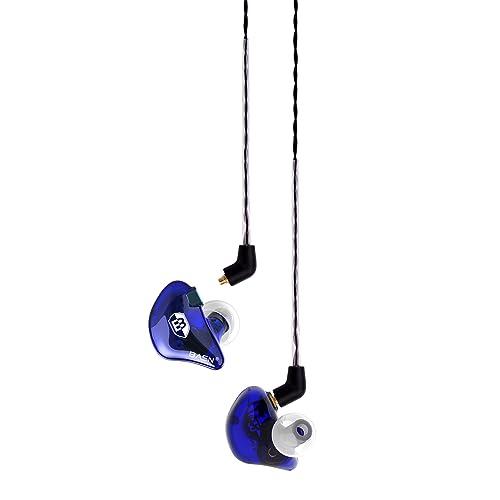 BASN BsingerBC100 Singer Headphones with MMCX Detachable Cable, Noise Cancelling In-Ear Monitor Earphones (Navy Blue)