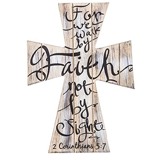 2 Corinthians 5 7 For We Walk by Faith not by Sight Beautiful Wood Cross Home Wall or Tabletop Decor 11.5 x 8