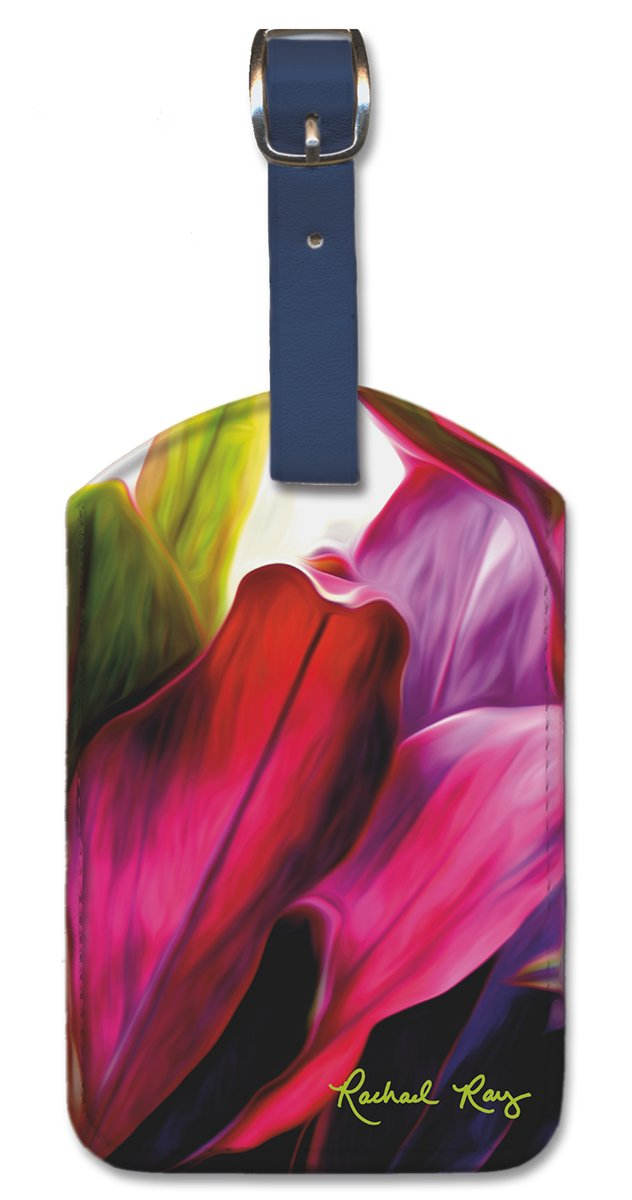 Pacifica Island Art Leatherette Luggage Baggage Tag Ray Ti Leaf Bouquet by R