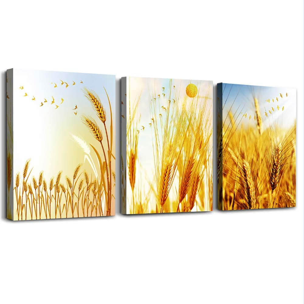 "Golden wheat fields wall pictures Canvas Wall Art for living room family Wall Decor Bedroom Decoration office Bathroom Wall Decor Paintings Home Decoration kitchen posters artwork 12""x16 3 piece set"