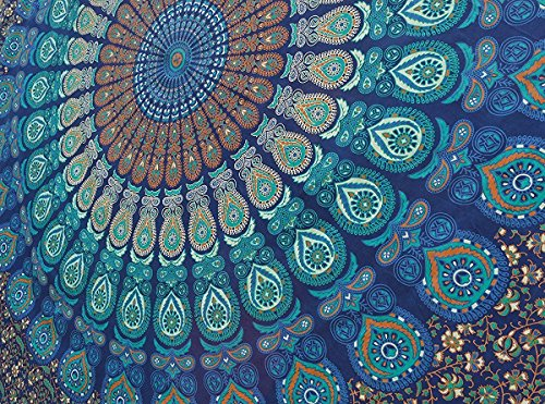 Indian-hippie Bohemian-psychedelic-dorm-room Droplet-mandala Wall-hanging-tapestry-blue Twin-size-54x72