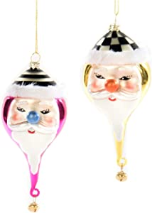 MacKenzie Childs Jolly St. Nick Glass Christmas Ornaments, Gold and Pink; Set of 2