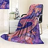 vanfan Super Soft Fleece Throw Blanket Collection Chinese Dragon Figure Ying Yang Signs Ethnic Patterns Asian Arts Meditation,Silky Soft,Anti-Static,2 Ply Thick Blanket. (90''x70'')