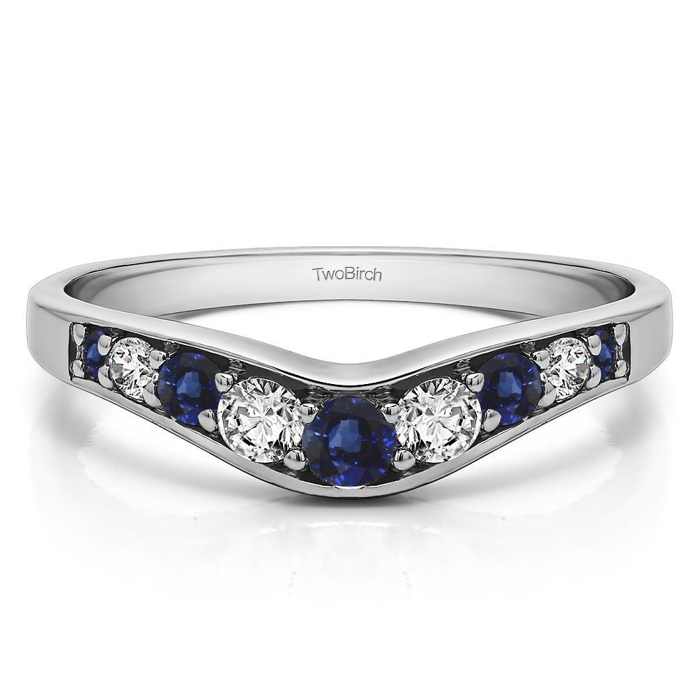 Diamonds(G-H,I2-I3) and Sapphire Curved Wedding Band In Silver(0.43Ct)Size 3 To 15 in 1/4 Size Interval