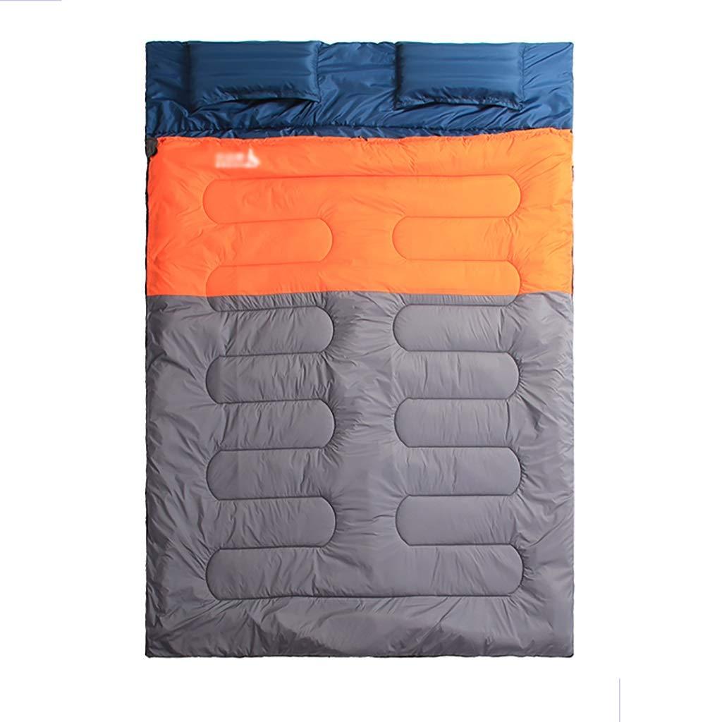 屋外用寝袋 屋外の二重寝袋封筒春と秋のキャンプハイキングポータブル寝袋カップルのための充填 (色 : B) B07PLKQF6Y B