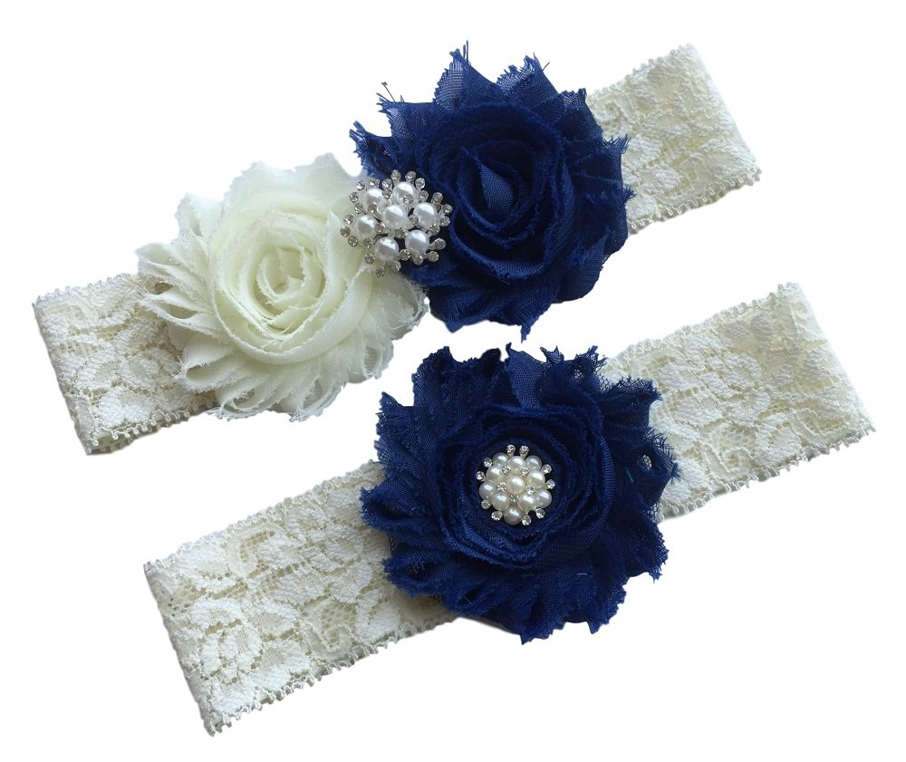 Daddasprincess Wedding Garter Ivory Bridal Lace Garter Set Something Blue Keepsake Toss Away Plus Size Belt Prom (M: 18-22 inches, Navy)