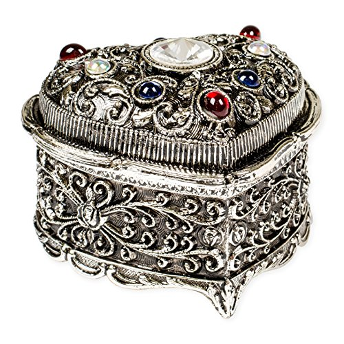 Heart Shaped Swarovski Crystal Jewel Silver Tone Metal Music Box Plays Tune My Heart Will Go On by Splendid Music Box Co.