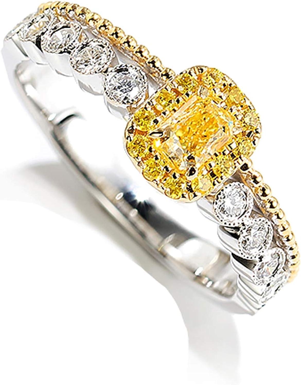 Beydodo Anillo Mujer 18K Oro + 18K Oro Blanco Oro y Oro Blanco Rectángulo Diamante Amarillo Blanco 0.29ct