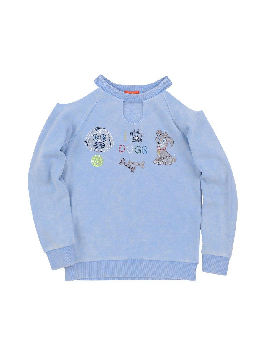 BUTTER SUPER SOFT Girl's Long Sleeve Crewneck Keyhole Cold Shoulder Sweatshirt Della Robbia Blue X-Large
