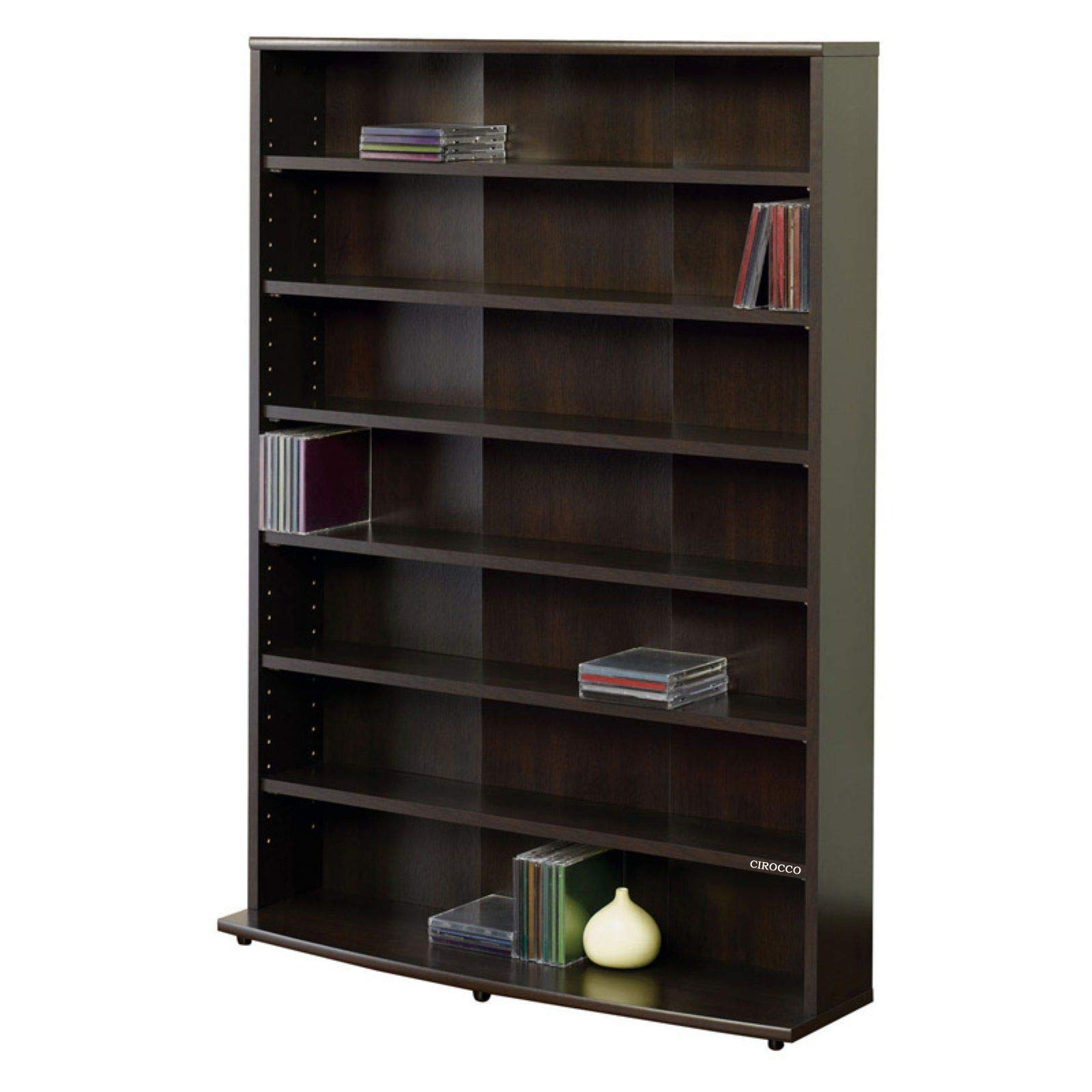 Cirocco 6 Tiers Multimedia Storage Tower Shelves Cinnamon Cherry - Wooden Bookshelf | Adjustable Large Heavy Duty Wood Supports 145 VHS Tape 280 DVDs and 436 CDs Collections | For Home Apartment Books by Cirocco