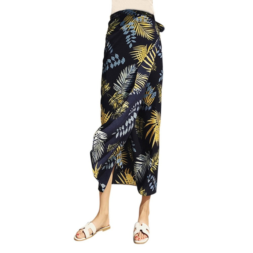 cddc366b0a6952 EFINNY Women's Bohemian Floral Print Wrap Skirt Maxi Skirt Summer Beach  Cover Up Split Long Skirts: Amazon.co.uk: Clothing