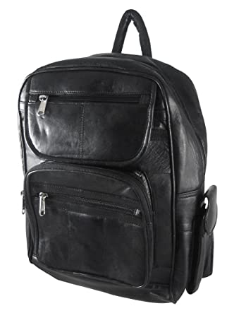 Amazon.com: Large Black Lambskin Leather Backpack Purse: Sports ...