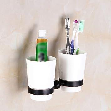 YSJ Soporte de Vaso Negro del Cepillo de Dientes del Cuarto de baño Antiguo, Soporte
