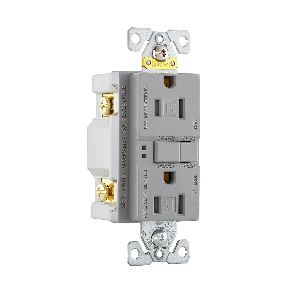 Eaton GFCI Self-Test 15A 125V Tamper Resistant Duplex Receptacle with Standard Size Wallplate Gray