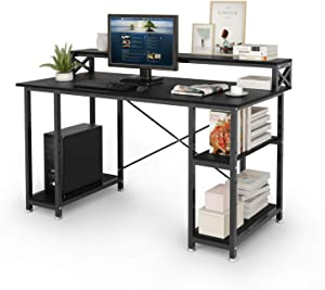 SEISSO Modern Computer Desk with 2 Tier Adjustable Storage Shelves, 55 Inch Multi Level Workstation Writing Table Pc Laptop Gaming Desk for Home Office Student Study Bedroom Small Space (Black)