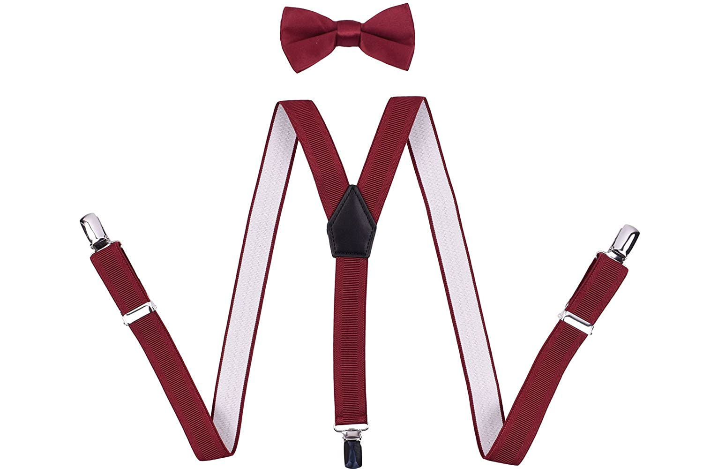ORSKY Mens Suspenders Adjustable Y Back with Bow Tie Set
