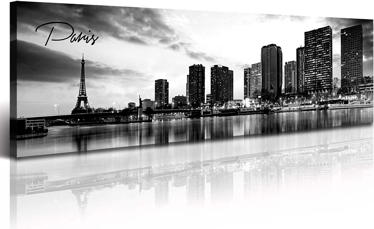DJSYLIFE Paris Eiffel Tower Skyline Wall Art Black and White Modern City Night View Panoramic Cityscape Picture Paintings Canvas Prints Office Room Home Decoration Artwork Framed 13.8