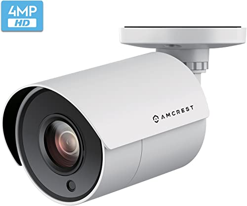 Amcrest UltraHD 4-Megapixel HDCVI Analog Bullet Outdoor Security Camera, 4MP 2688x1440P, 98ft Night Vision, 2.8mm Lens 100 Wide Angle, White AMC4MBC28P-W