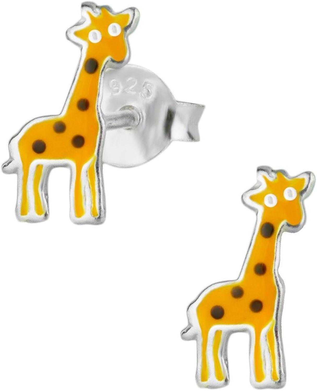 Best Wing Jewelry .925 Sterling Silver Gold-tone Giraffe Childrens Stud Earrings