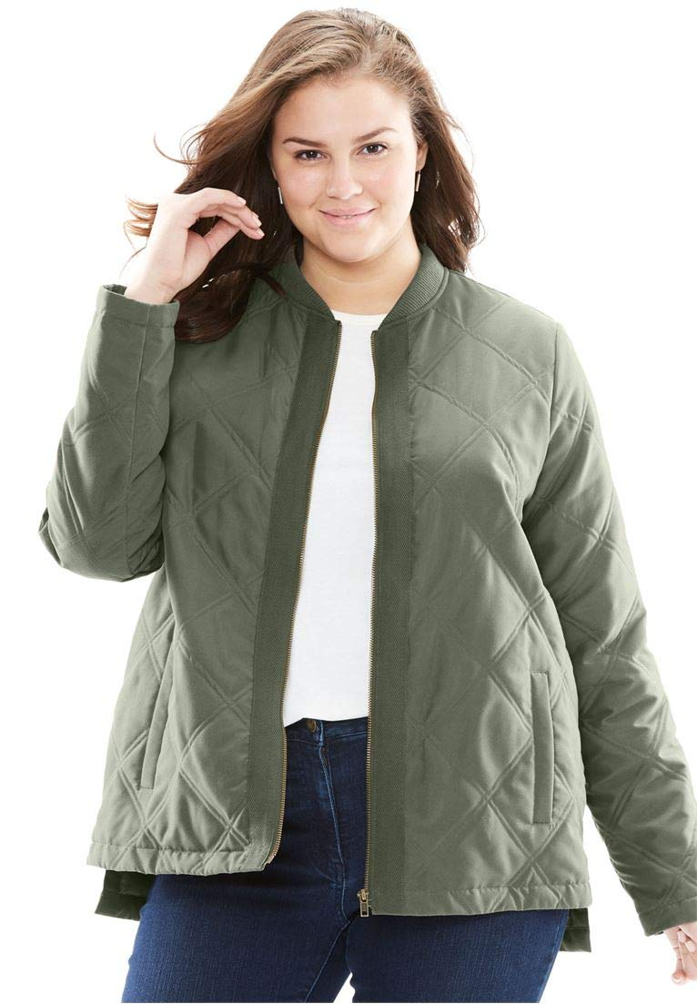 Woman Within Women's Plus Size The Laid Back Bomber Jacket