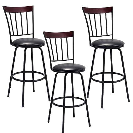 amazon com costway swivel counter height bar stool modern barstool