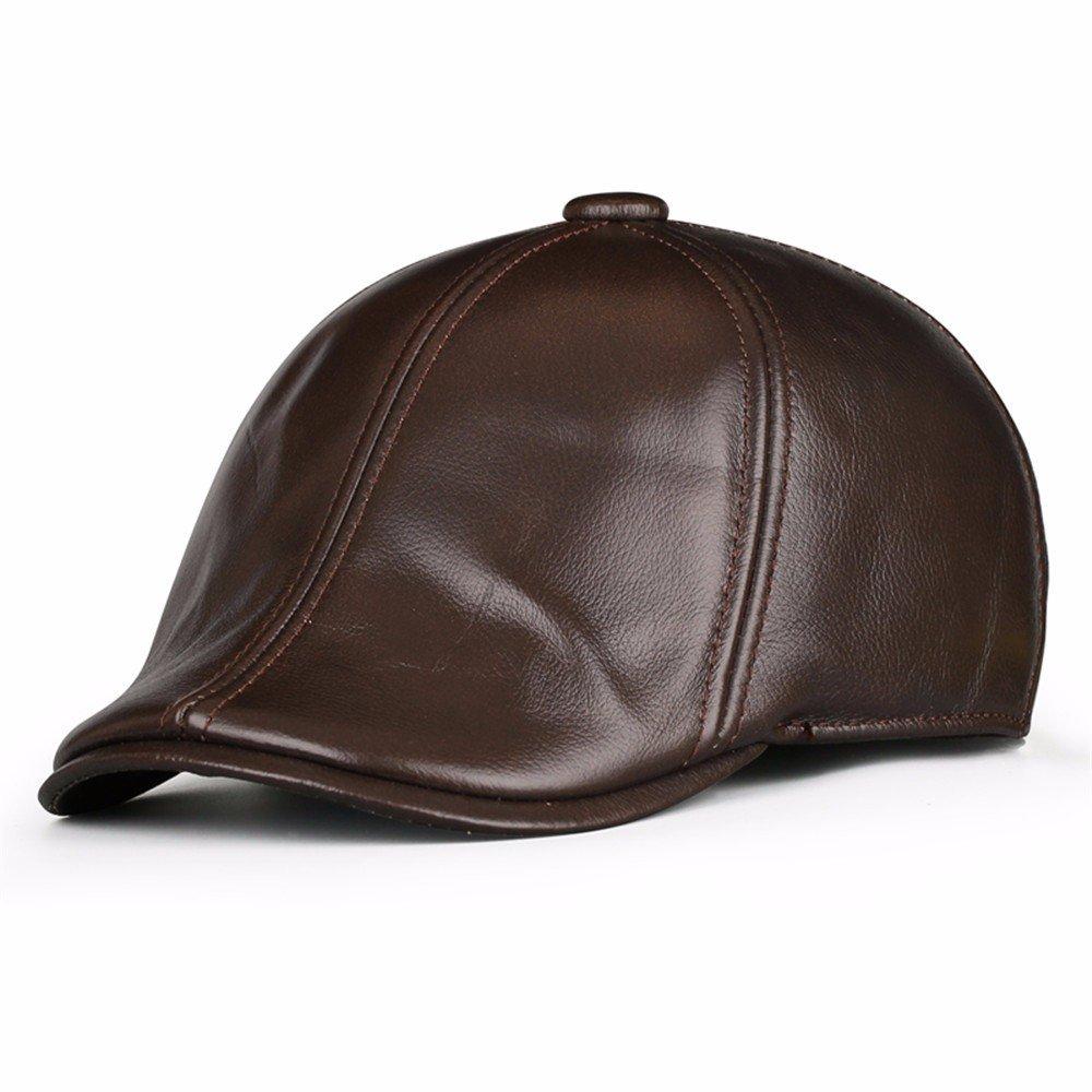 Cappello invernale per uomo casual berretti di cuoio uomini casuale plus cotone cotone invernale cappuccio maschio,L (56-57cm),rosso marrone