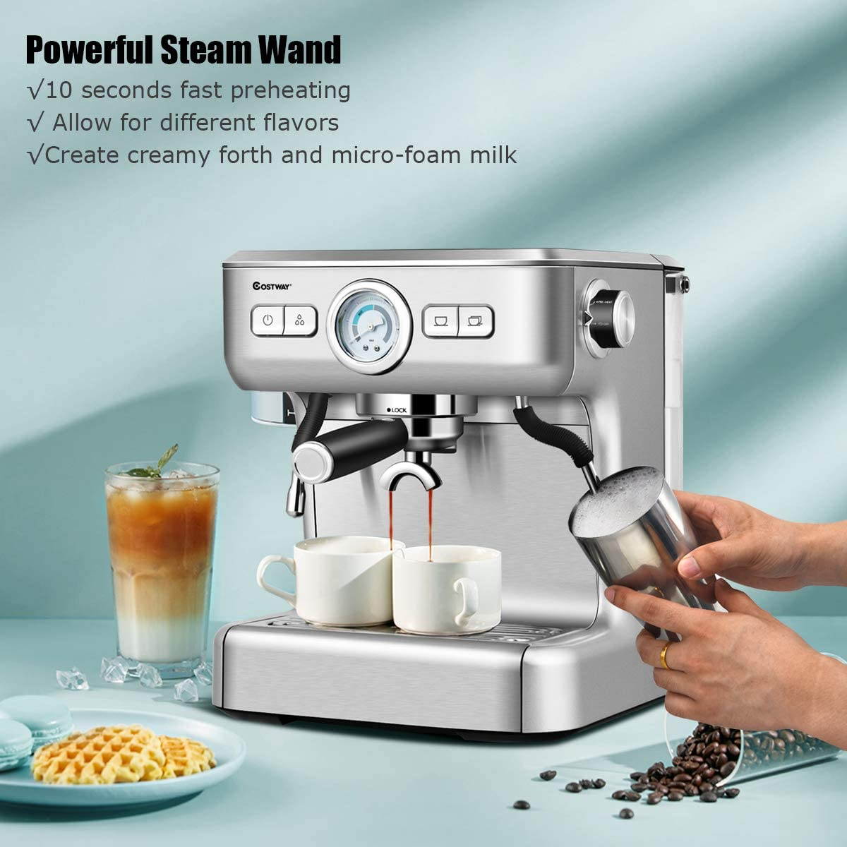 ARLIME Semi-Automatic Espresso Machine, 20 Bar Pump& Built-In Milk Frother and Steamer&10s Preheating, PID Temperature Control& 2L Removable water tank&Drip Tray&Countertop Cappuccino Maker&Stainless Steel Pressure Coffee Brewer