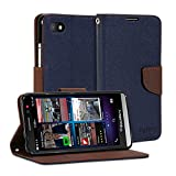 BlackBerry Z30 Case, GMYLE Wallet Case Classic for BlackBerry Z30 - Navy Blue & Brown Cross Pattern PU Leather Slim Wallet Case Flip Folio Stand Cover