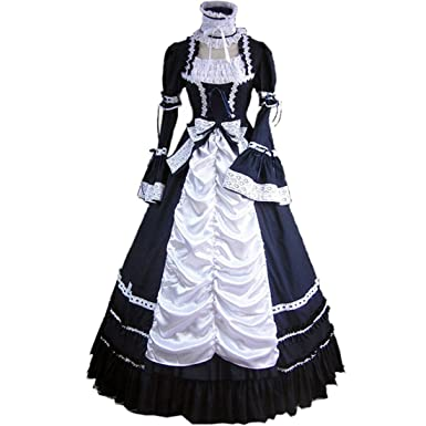 Partiss Womens Vintage Gothic Lolita Cosplay Prom Dress, Medium, Navy and White