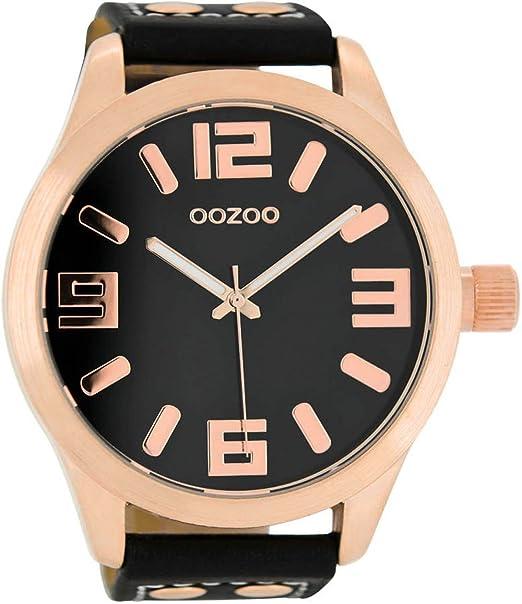 Oozoo C1109 - Reloj para hombres, correa de cuero color negro