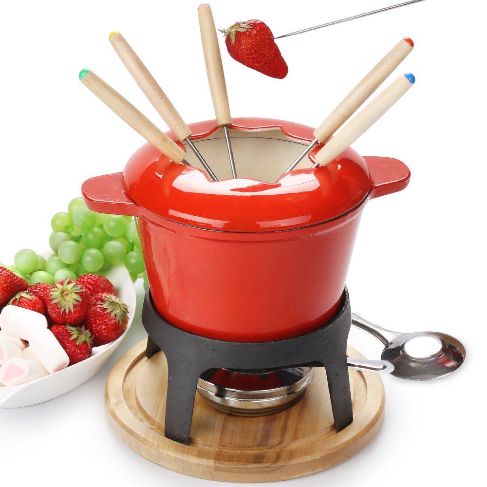 Cast Iron cheese fondue set of 6 forks/ DIY chocolate fondue set RED / Meat Fondue Sets OYSHOPP