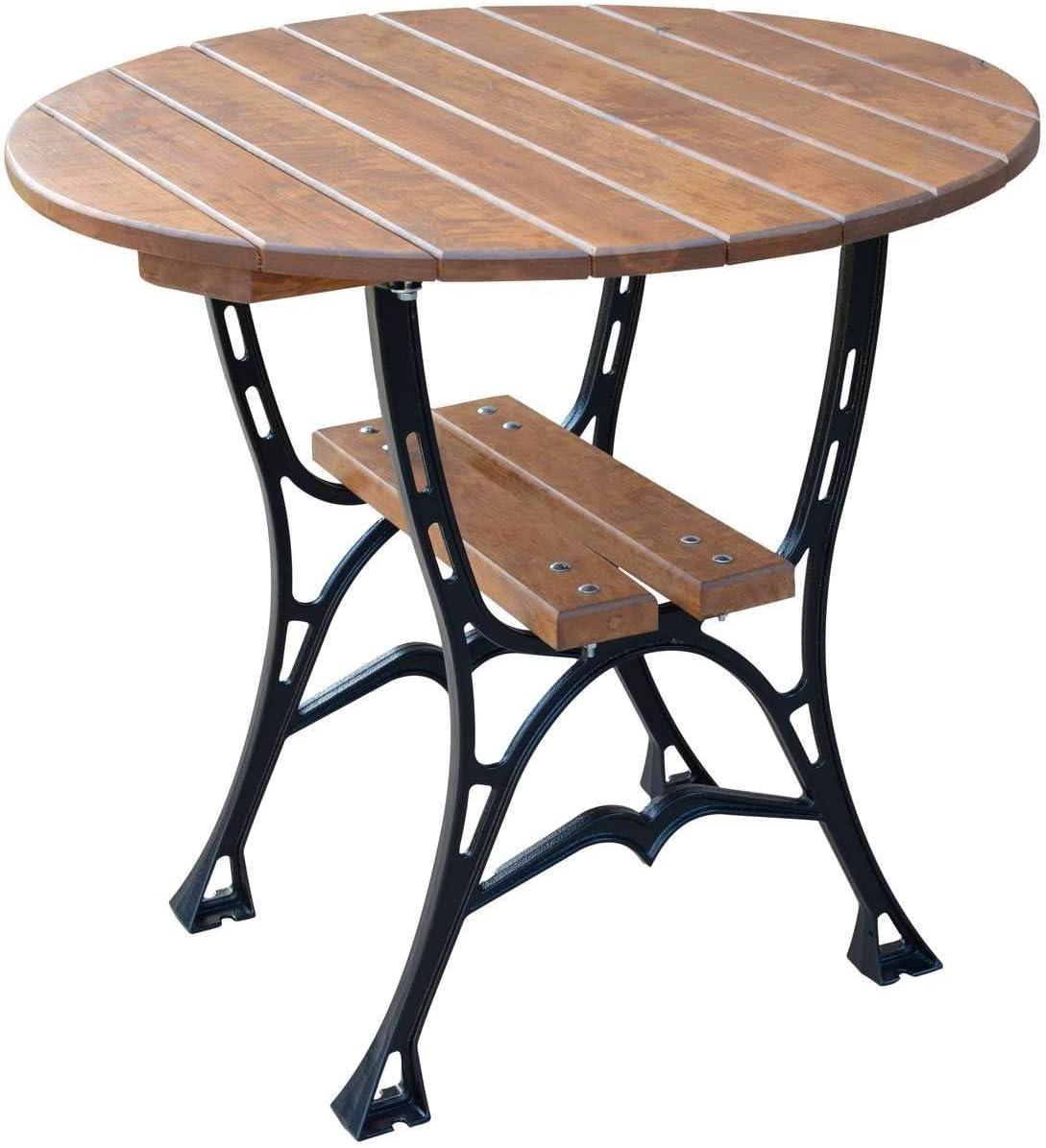 Krakwood Round Garden Table Wooden Round Outdoor Dining Table Deluxe