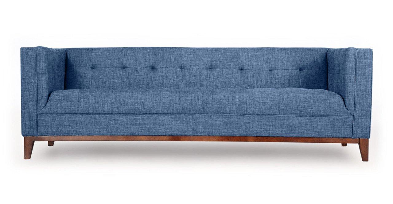 Kardiel Harrison Mid-Century Modern Loft Sofa, Blue Curacao Tailored Twill