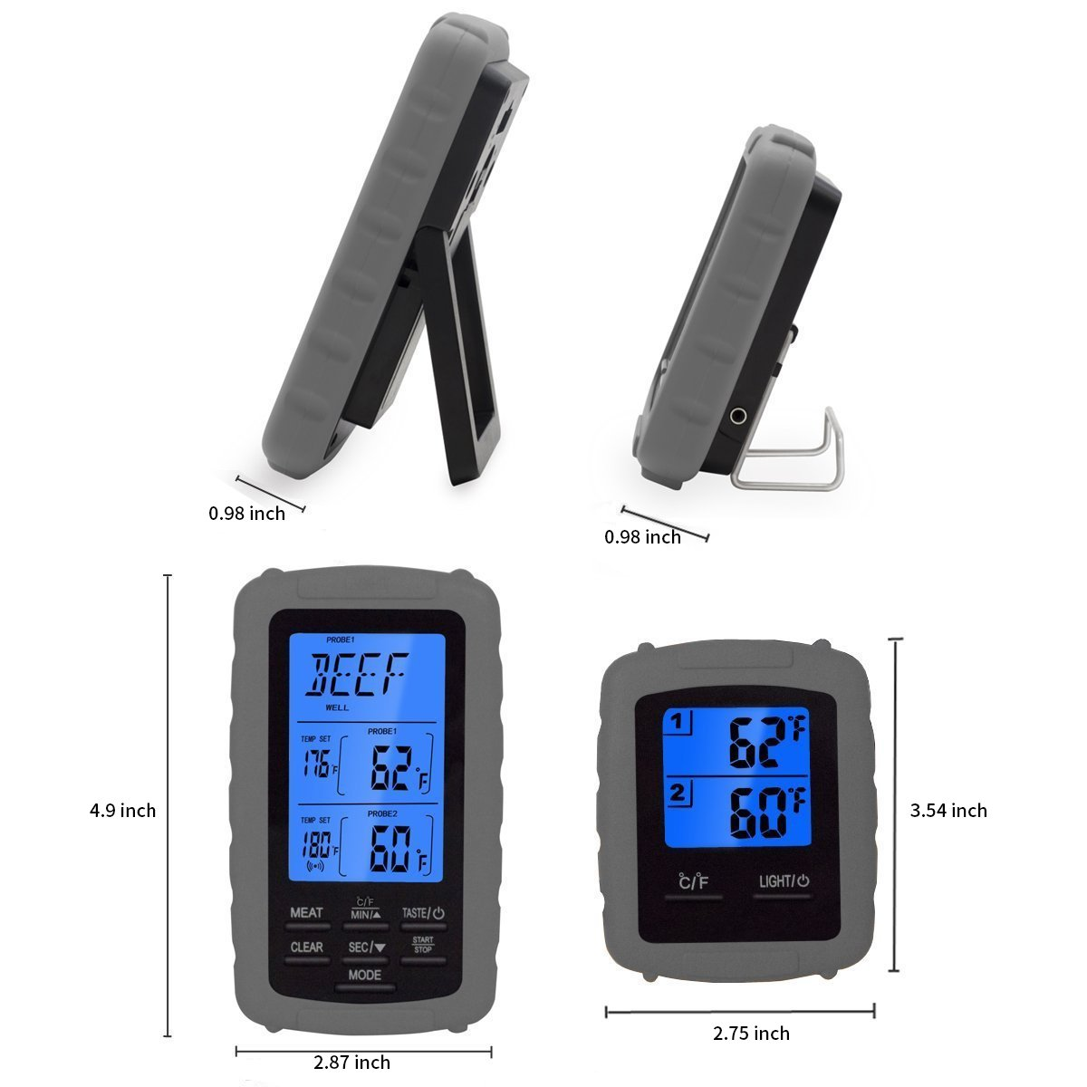 Compra IDABAY Termómetro Digital de Carne Control Remoto inalámbrico Indicador de temperatura digital Carne Horno de comida Termómetro para asar Gran ...