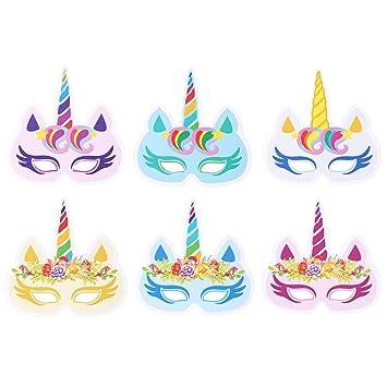WZSP - Máscara de unicornio para decoración de fiestas de cumpleaños de niños, 12 unidades