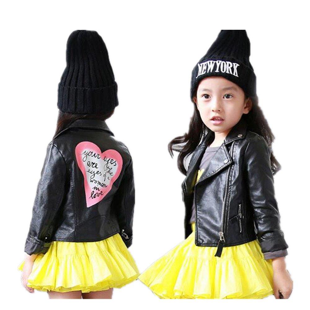 LJYH Girls Leather Motorcycle Jacket Children's PU Love Coat Black 9/10yrs (140)