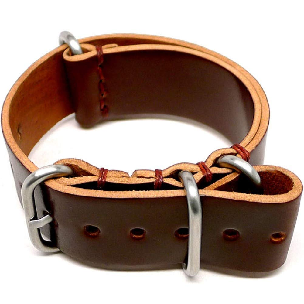 DaLuca Shell Cordovan Military Watch Strap - Color 4 (Matte Buckle) : 18mm