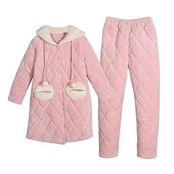DUKUNKUN Pijamas De Invierno Acolchados para Mujer Abrigos Gruesos De Algodón Ropa Casual Traje con Capucha