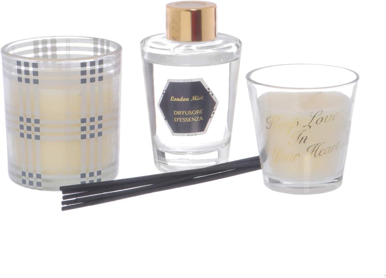 Diffusore d essenza con 2 candele Trasparente: Amazon.it