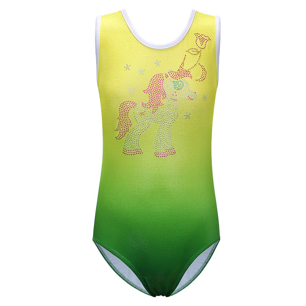 XIAOFEIGUO Girls Leotards Dance Wear Cute Cartoon Gymnastics One-Piece Sparkle Biketard for Kids 3-12Y