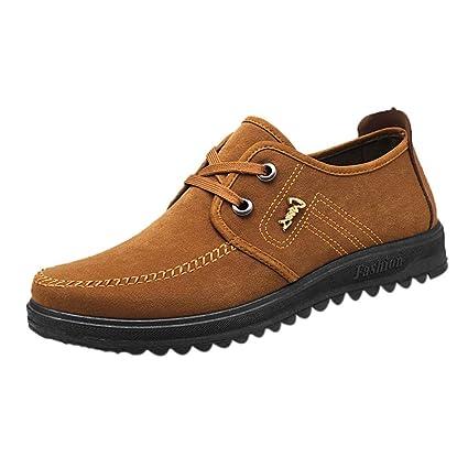 Bestow Zapatos Transpirables Antideslizantes para Hombres Zapatos con Cordones Zapatos Planos con Punta Redonda: Amazon.es: Ropa y accesorios