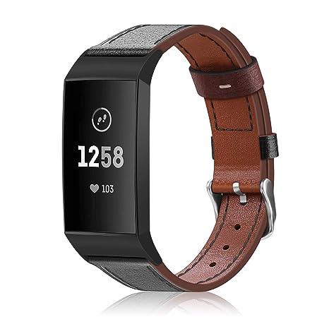 FINTIE Bracelet Compatible avec Fitbit Charge 3 - en Cuir Véritable Watch Band Remplacement Bracelet de Montre avec Boucle en Acier Inoxydable (Noir)