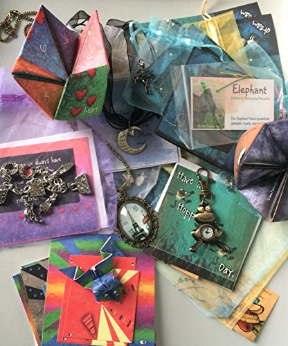Smiling Wisdom - Mystery Grab Bag Surprise Bundled Gifts - Inexpensive Discounted Assorted Multiple Fun Surprises - 6-10 Cute Gifts - Origami Frogs, Cards, Jewelry- Boys, Girls, Tweens - Party Favors (Jewellery Frog Great)