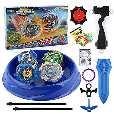 CEKTOYS Battling Burst Game Tops Metal Fusion Starter Set| 4 Set - Cho-Z Valkyrie.Z.EV Attack Starter,Ace Dragon. St. Ch, Slash Valkyrie.Bl.Pw Burst and Bushin Ashura. Hr. Kp: Toys & Games